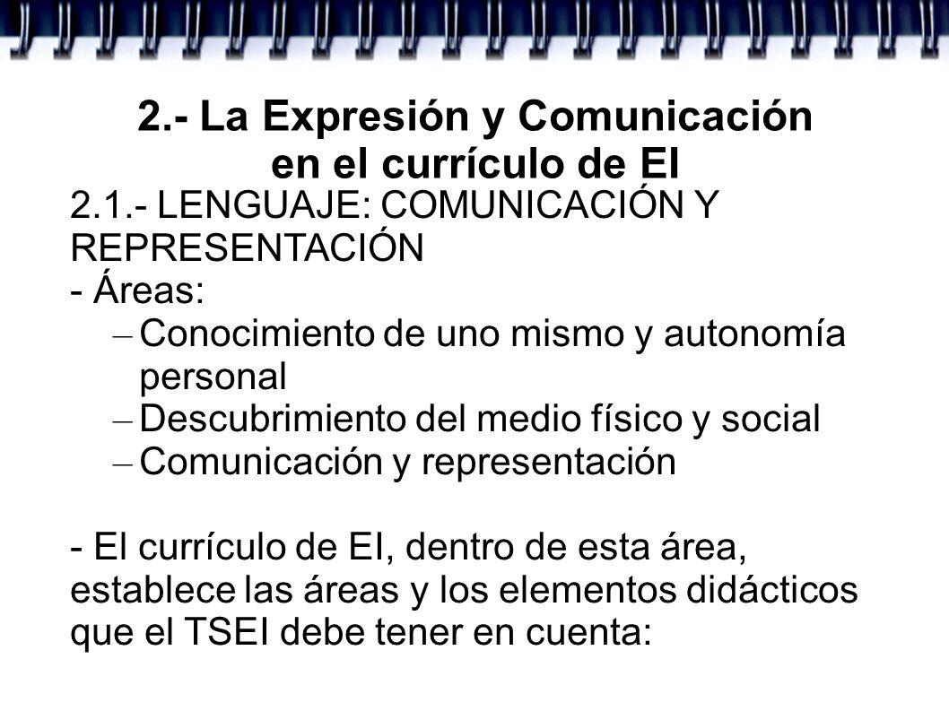 2.- La Expresión y Comunicación en el currículo de EI 2.1.- LENGUAJE: COMUNICACIÓN Y REPRESENTACIÓN - Áreas: – Conocimiento de uno mismo y autonomía p