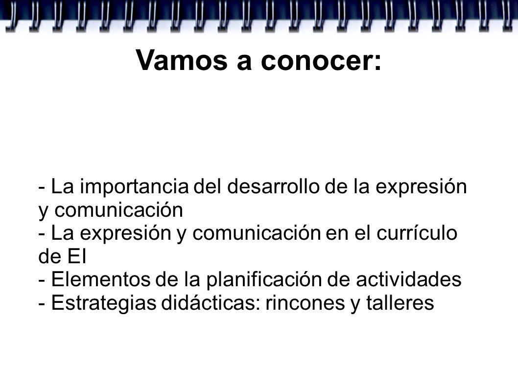 Vamos a conocer: - La importancia del desarrollo de la expresión y comunicación - La expresión y comunicación en el currículo de EI - Elementos de la