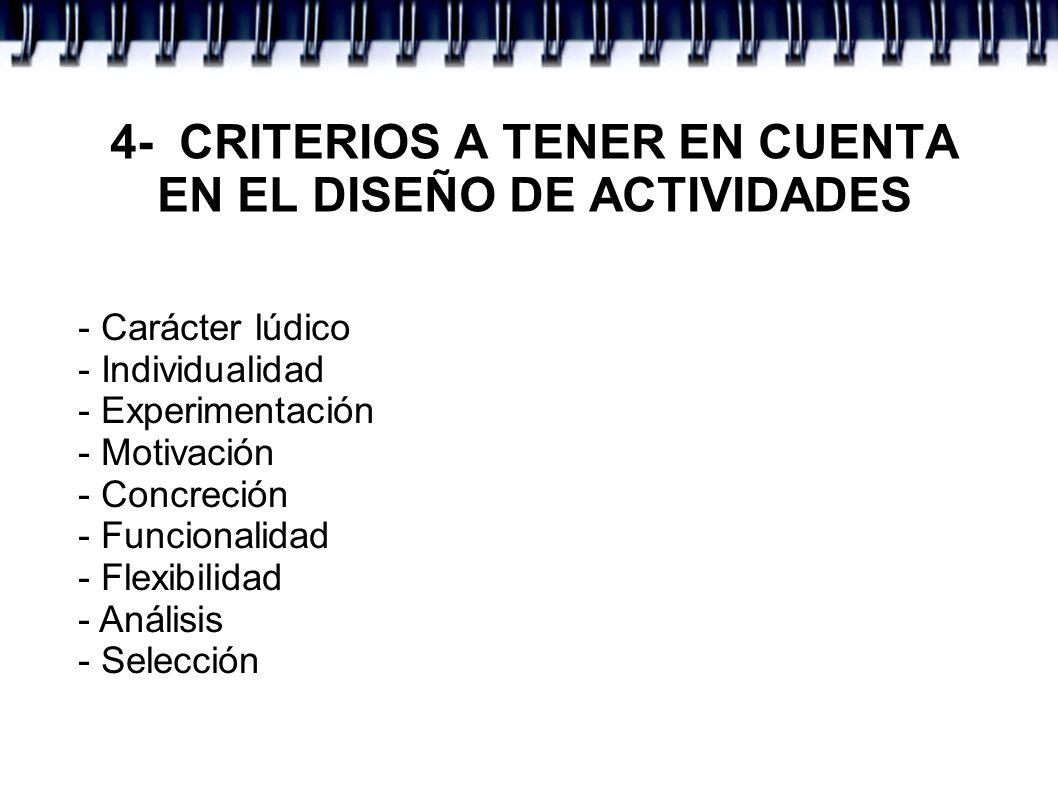 - Carácter lúdico - Individualidad - Experimentación - Motivación - Concreción - Funcionalidad - Flexibilidad - Análisis - Selección 4- CRITERIOS A TE