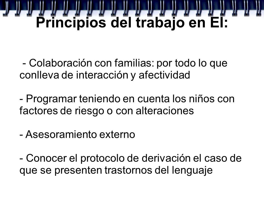 Principios del trabajo en EI: - Colaboración con familias: por todo lo que conlleva de interacción y afectividad - Programar teniendo en cuenta los ni
