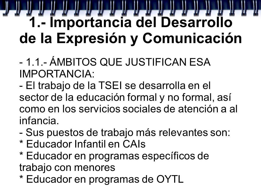 1.- Importancia del Desarrollo de la Expresión y Comunicación - 1.1.- ÁMBITOS QUE JUSTIFICAN ESA IMPORTANCIA: - El trabajo de la TSEI se desarrolla en