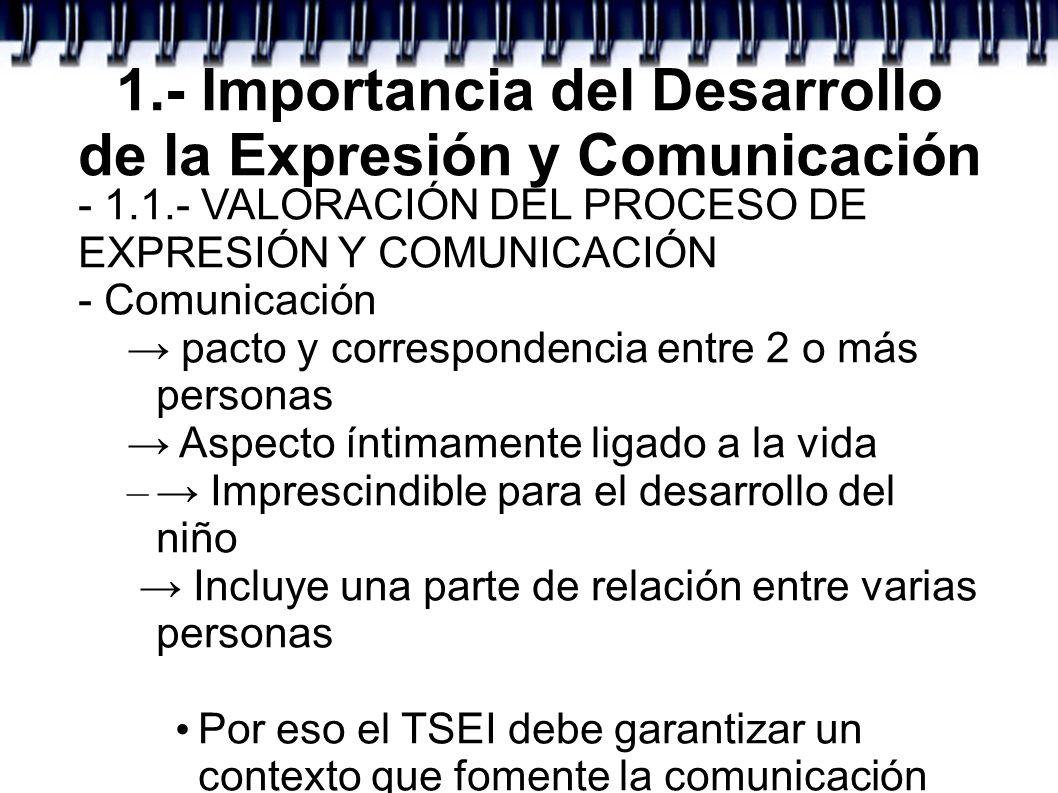 1.- Importancia del Desarrollo de la Expresión y Comunicación - 1.1.- VALORACIÓN DEL PROCESO DE EXPRESIÓN Y COMUNICACIÓN - Comunicación pacto y corres