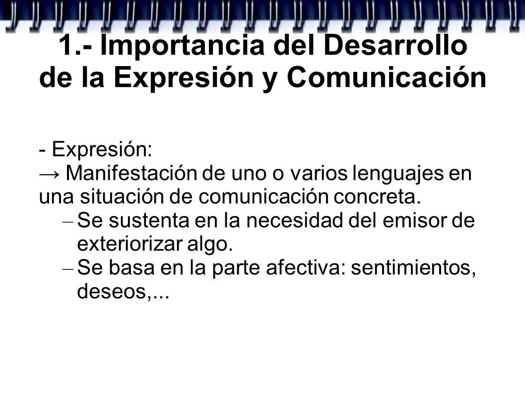 1.- Importancia del Desarrollo de la Expresión y Comunicación - Expresión: Manifestación de uno o varios lenguajes en una situación de comunicación co
