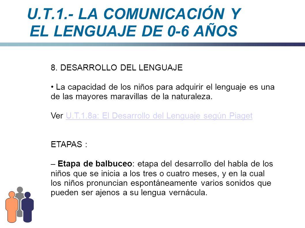 U.T.1.- LA COMUNICACIÓN Y EL LENGUAJE DE 0-6 AÑOS 8. DESARROLLO DEL LENGUAJE La capacidad de los niños para adquirir el lenguaje es una de las mayores