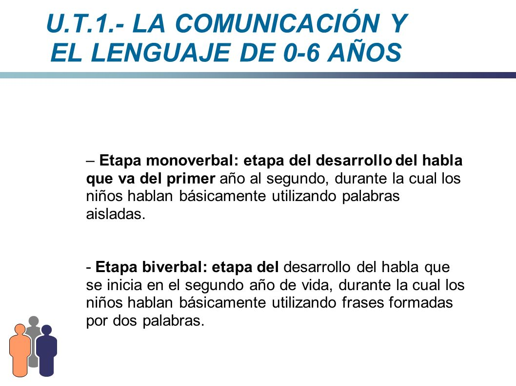 U.T.1.- LA COMUNICACIÓN Y EL LENGUAJE DE 0-6 AÑOS – Etapa monoverbal: etapa del desarrollo del habla que va del primer año al segundo, durante la cual