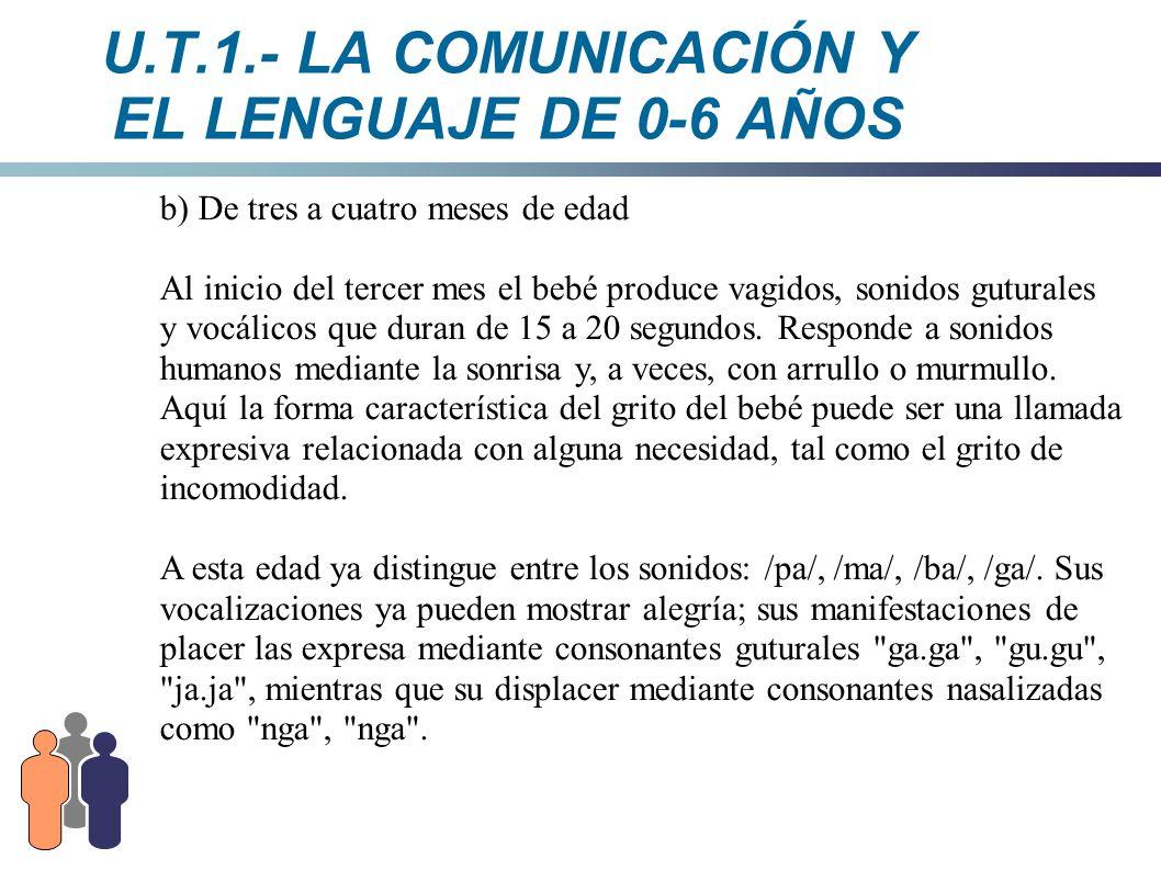 U.T.1.- LA COMUNICACIÓN Y EL LENGUAJE DE 0-6 AÑOS b) De tres a cuatro meses de edad Al inicio del tercer mes el bebé produce vagidos, sonidos guturale