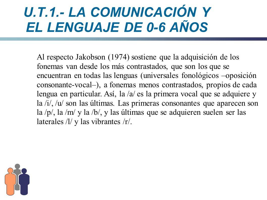 U.T.1.- LA COMUNICACIÓN Y EL LENGUAJE DE 0-6 AÑOS Al respecto Jakobson (1974) sostiene que la adquisición de los fonemas van desde los más contrastado