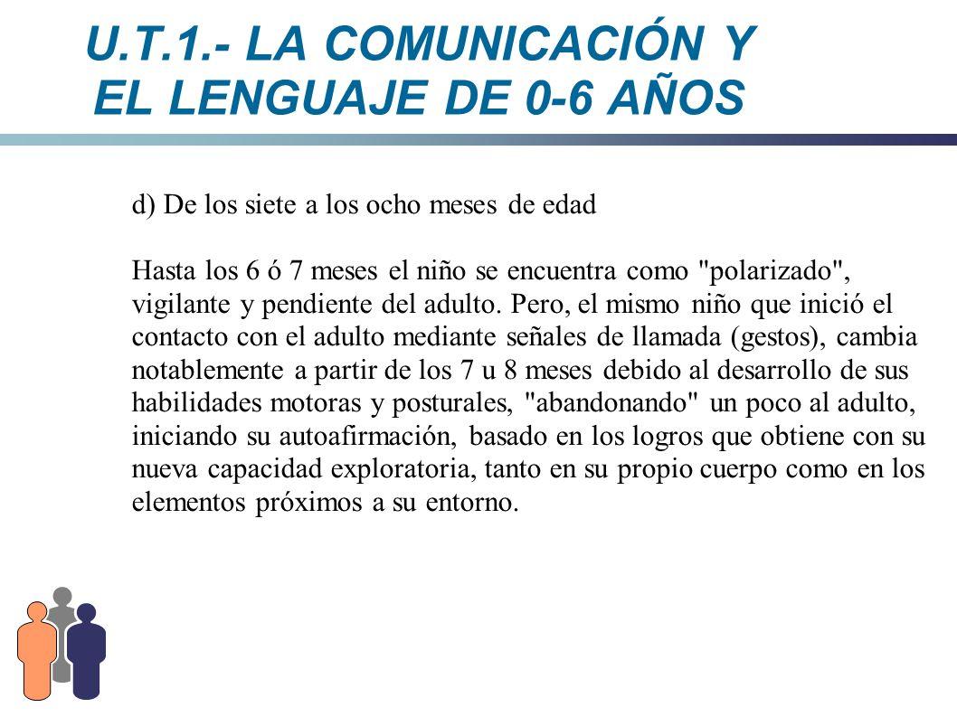 U.T.1.- LA COMUNICACIÓN Y EL LENGUAJE DE 0-6 AÑOS d) De los siete a los ocho meses de edad Hasta los 6 ó 7 meses el niño se encuentra como