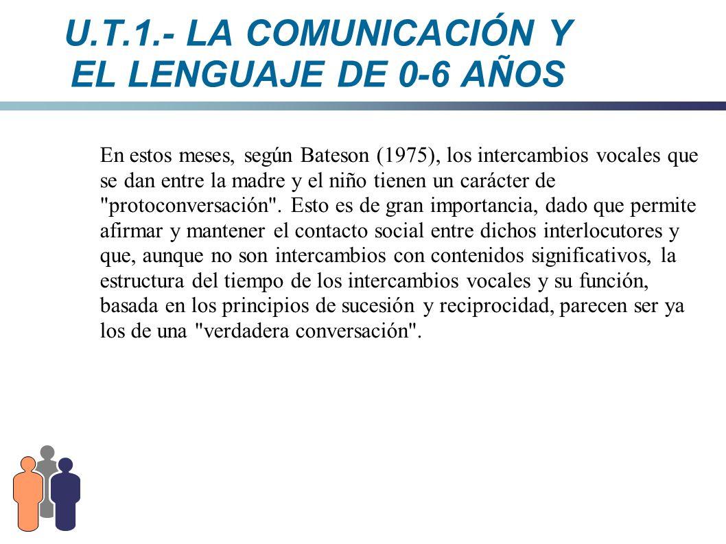 U.T.1.- LA COMUNICACIÓN Y EL LENGUAJE DE 0-6 AÑOS En estos meses, según Bateson (1975), los intercambios vocales que se dan entre la madre y el niño t