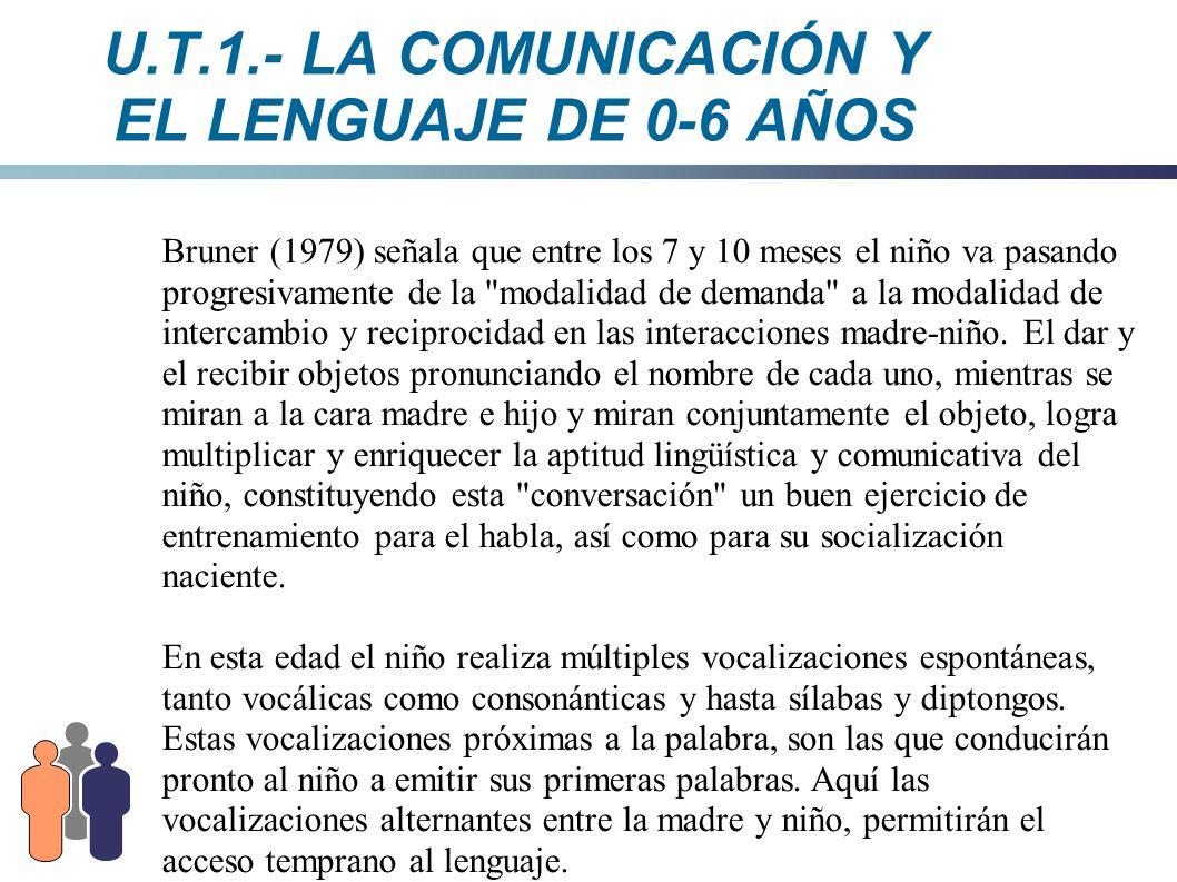 U.T.1.- LA COMUNICACIÓN Y EL LENGUAJE DE 0-6 AÑOS Bruner (1979) señala que entre los 7 y 10 meses el niño va pasando progresivamente de la