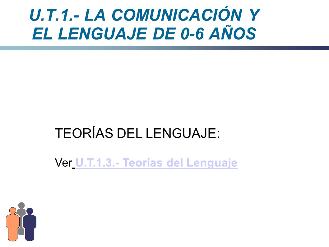 U.T.1.- LA COMUNICACIÓN Y EL LENGUAJE DE 0-6 AÑOS TEORÍAS DEL LENGUAJE: Ver U.T.1.3.- Teorías del LenguajeU.T.1.3.- Teorías del Lenguaje