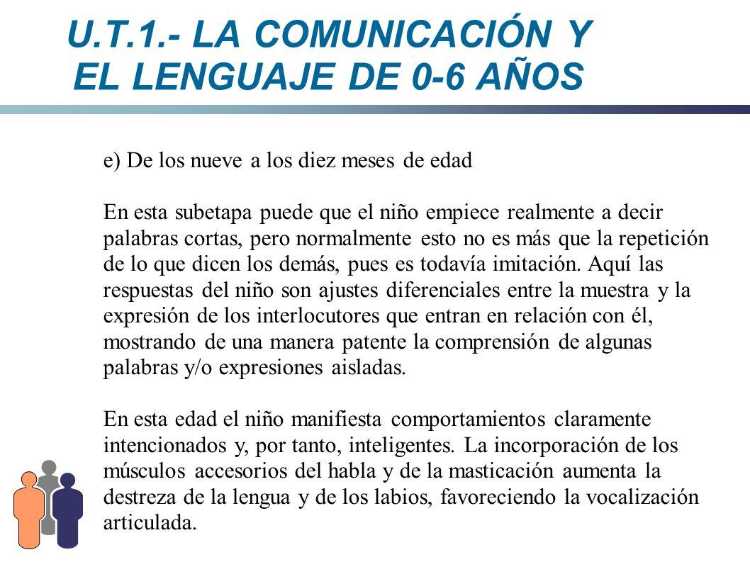 U.T.1.- LA COMUNICACIÓN Y EL LENGUAJE DE 0-6 AÑOS e) De los nueve a los diez meses de edad En esta subetapa puede que el niño empiece realmente a deci