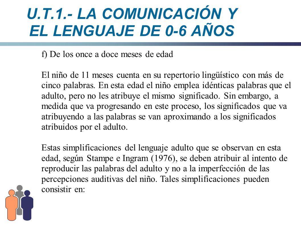 U.T.1.- LA COMUNICACIÓN Y EL LENGUAJE DE 0-6 AÑOS f) De los once a doce meses de edad El niño de 11 meses cuenta en su repertorio lingüístico con más