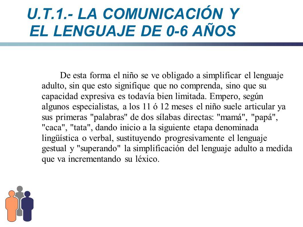U.T.1.- LA COMUNICACIÓN Y EL LENGUAJE DE 0-6 AÑOS De esta forma el niño se ve obligado a simplificar el lenguaje adulto, sin que esto signifique que n