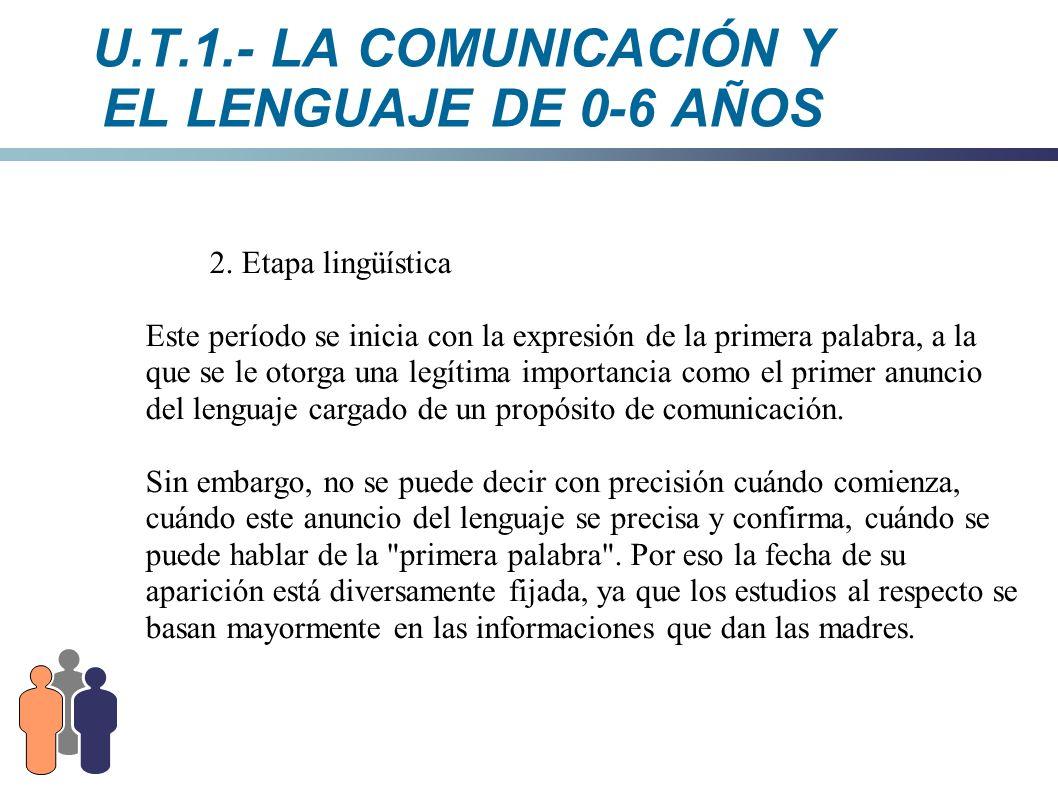 U.T.1.- LA COMUNICACIÓN Y EL LENGUAJE DE 0-6 AÑOS 2. Etapa lingüística Este período se inicia con la expresión de la primera palabra, a la que se le o