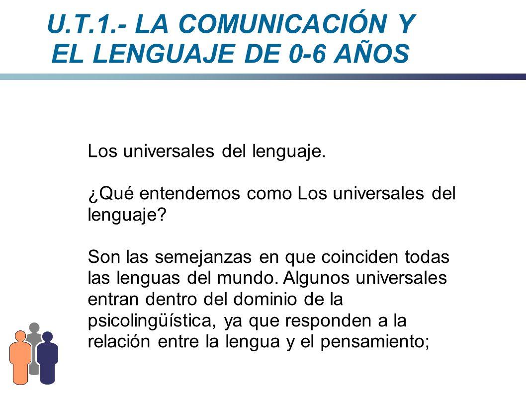U.T.1.- LA COMUNICACIÓN Y EL LENGUAJE DE 0-6 AÑOS Los universales del lenguaje. ¿Qué entendemos como Los universales del lenguaje? Son las semejanzas