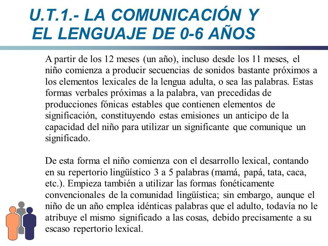 U.T.1.- LA COMUNICACIÓN Y EL LENGUAJE DE 0-6 AÑOS A partir de los 12 meses (un año), incluso desde los 11 meses, el niño comienza a producir secuencia