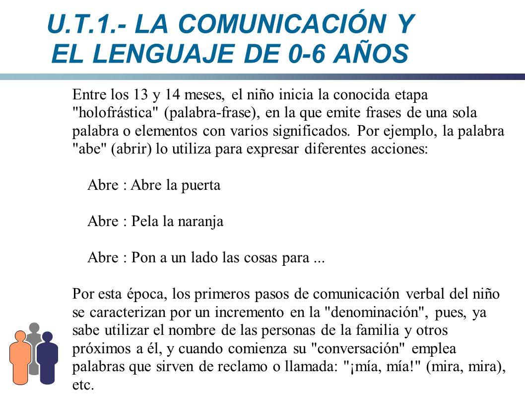 U.T.1.- LA COMUNICACIÓN Y EL LENGUAJE DE 0-6 AÑOS Entre los 13 y 14 meses, el niño inicia la conocida etapa