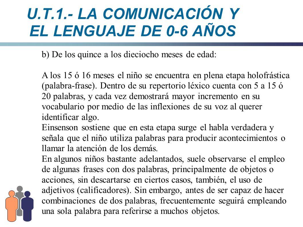 U.T.1.- LA COMUNICACIÓN Y EL LENGUAJE DE 0-6 AÑOS b) De los quince a los dieciocho meses de edad: A los 15 ó 16 meses el niño se encuentra en plena et