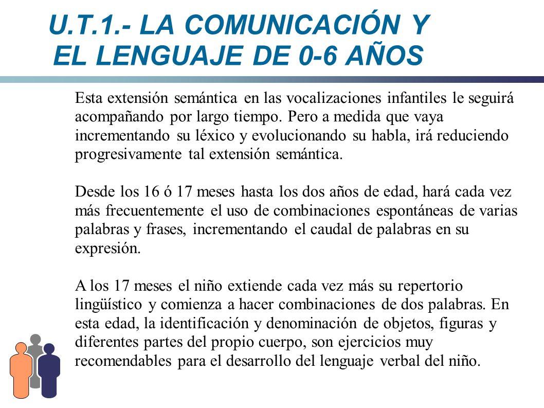 U.T.1.- LA COMUNICACIÓN Y EL LENGUAJE DE 0-6 AÑOS Esta extensión semántica en las vocalizaciones infantiles le seguirá acompañando por largo tiempo. P