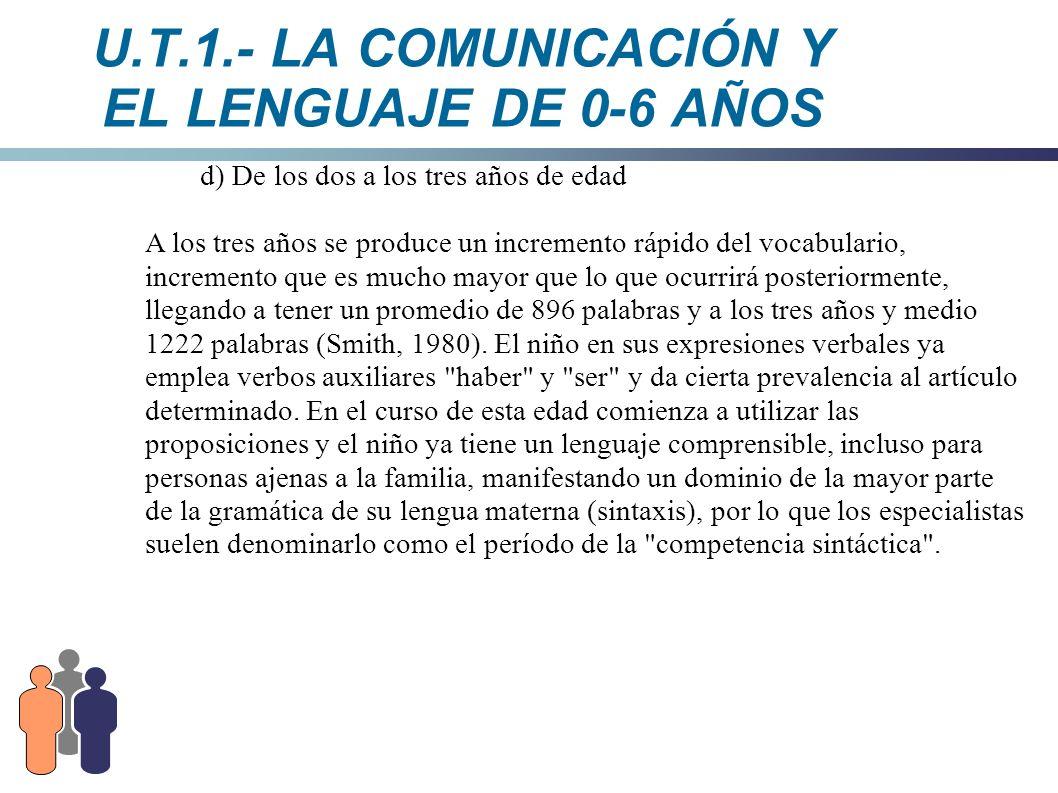 U.T.1.- LA COMUNICACIÓN Y EL LENGUAJE DE 0-6 AÑOS d) De los dos a los tres años de edad A los tres años se produce un incremento rápido del vocabulari