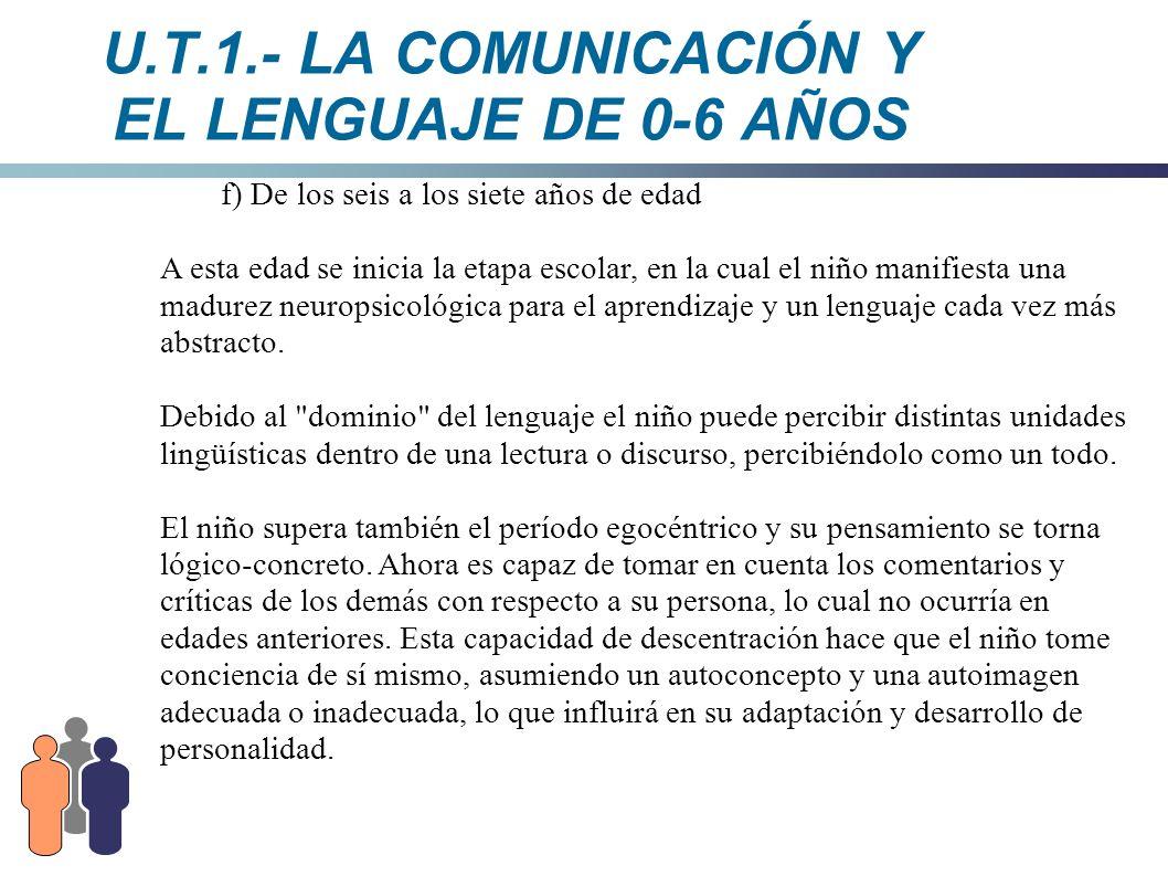 U.T.1.- LA COMUNICACIÓN Y EL LENGUAJE DE 0-6 AÑOS f) De los seis a los siete años de edad A esta edad se inicia la etapa escolar, en la cual el niño m