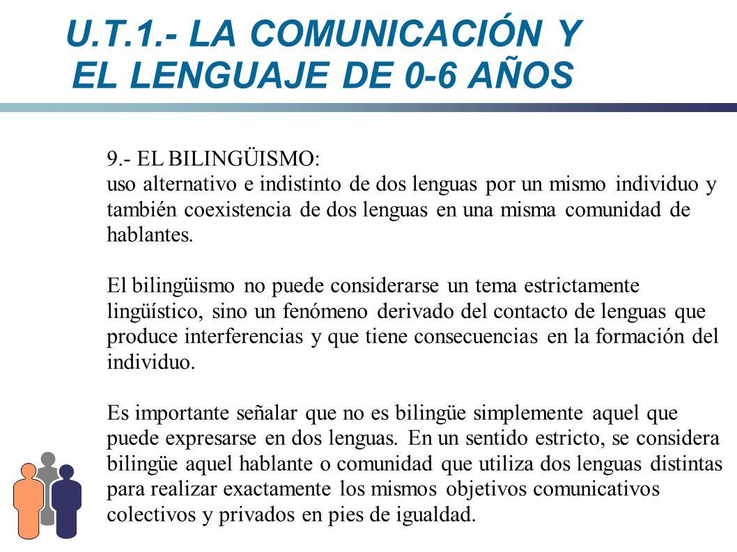 U.T.1.- LA COMUNICACIÓN Y EL LENGUAJE DE 0-6 AÑOS 9.- EL BILINGÜISMO: uso alternativo e indistinto de dos lenguas por un mismo individuo y también coe