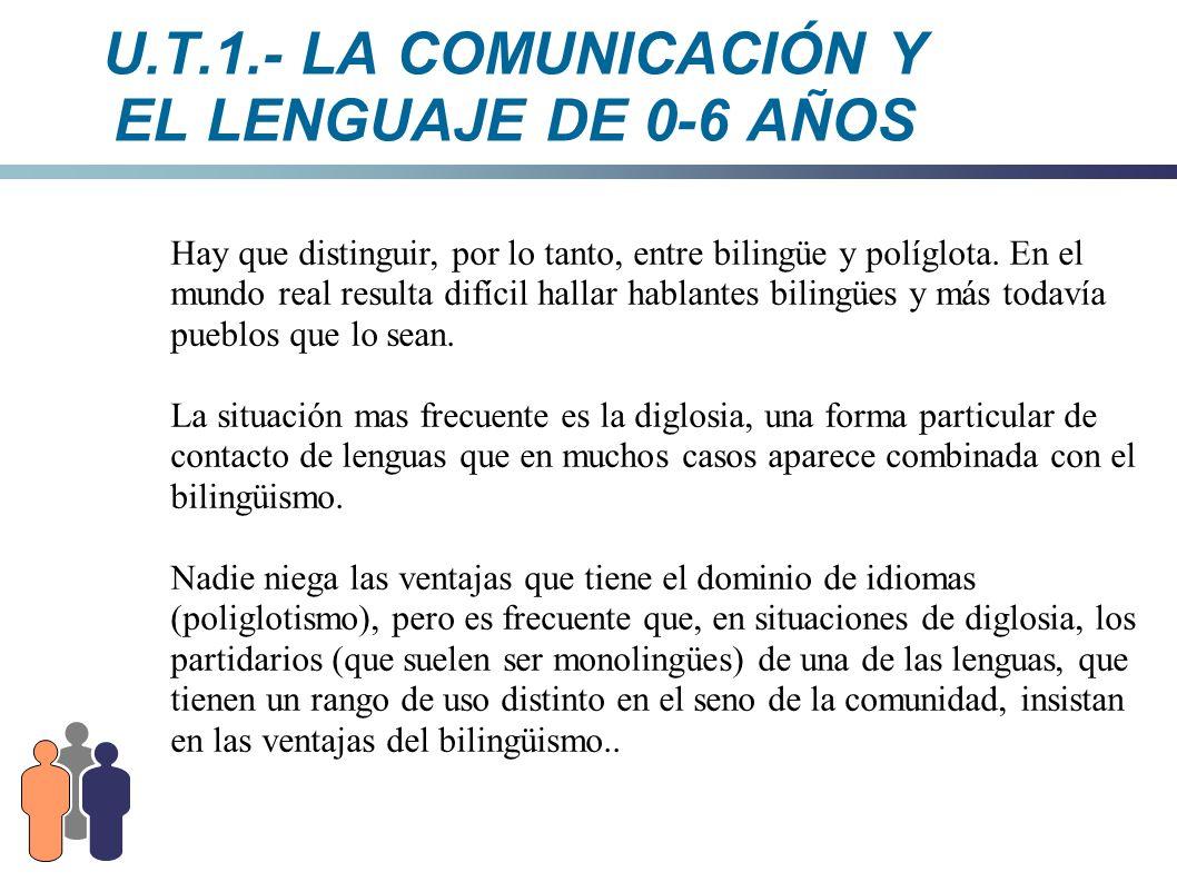U.T.1.- LA COMUNICACIÓN Y EL LENGUAJE DE 0-6 AÑOS Hay que distinguir, por lo tanto, entre bilingüe y políglota. En el mundo real resulta difícil halla