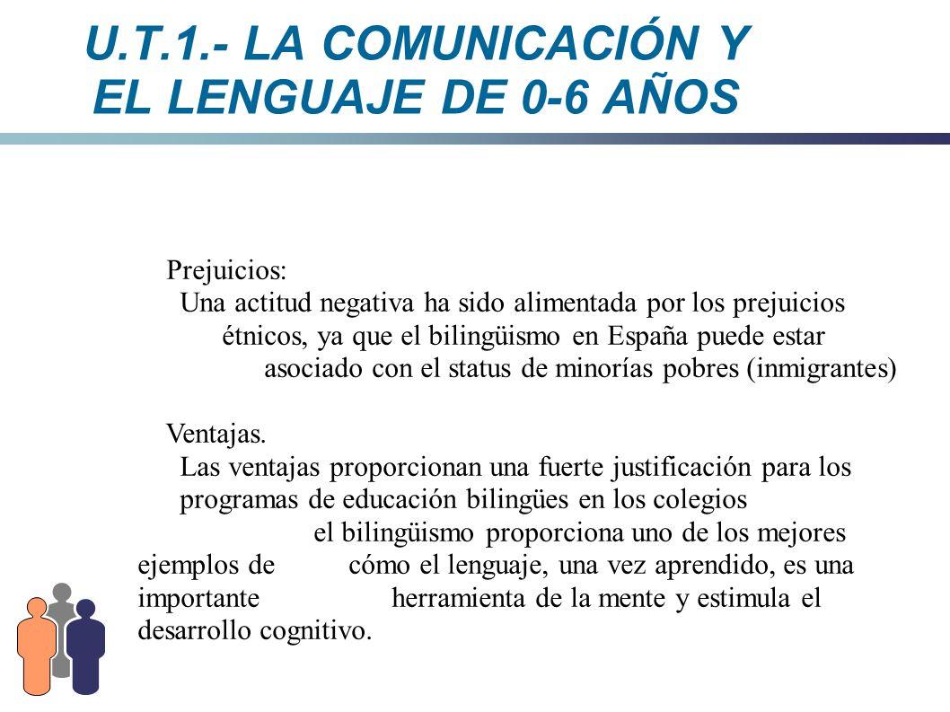 U.T.1.- LA COMUNICACIÓN Y EL LENGUAJE DE 0-6 AÑOS Prejuicios: Una actitud negativa ha sido alimentada por los prejuicios étnicos, ya que el bilingüism