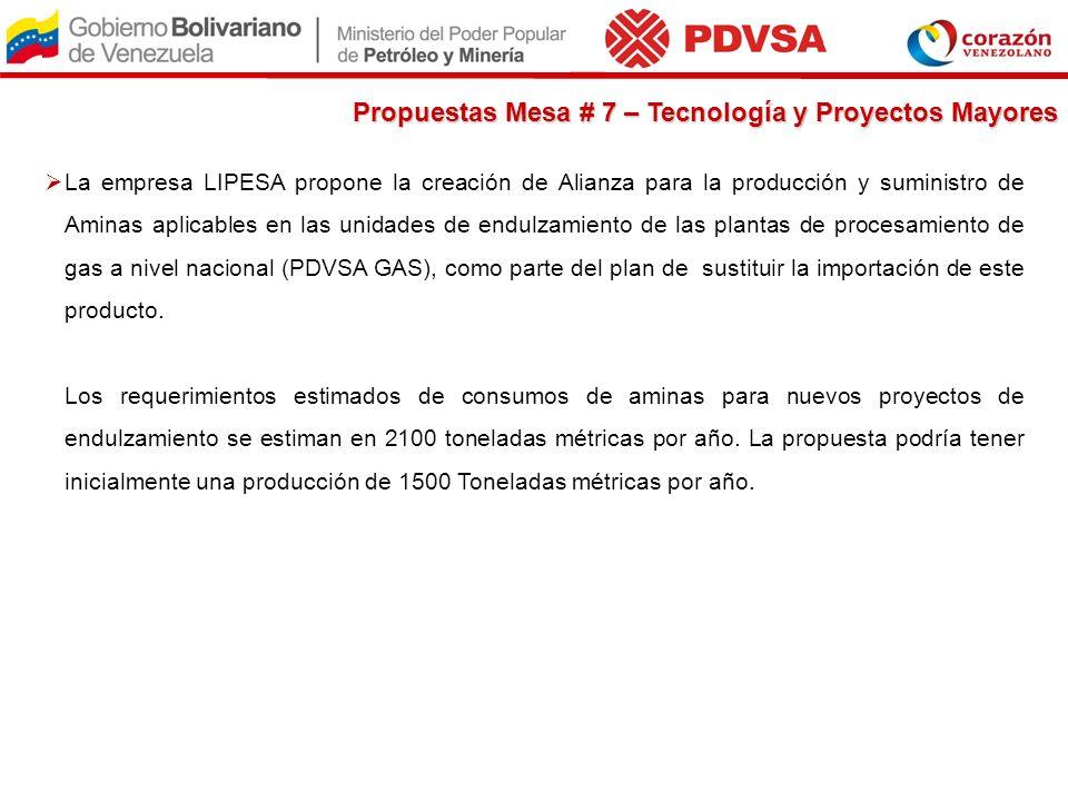 La empresa LIPESA propone la creación de Alianza para la producción y suministro de Aminas aplicables en las unidades de endulzamiento de las plantas
