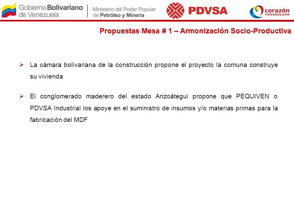 La cámara bolivariana de la construcción propone el proyecto la comuna construye su vivienda El conglomerado maderero del estado Anzoátegui propone qu