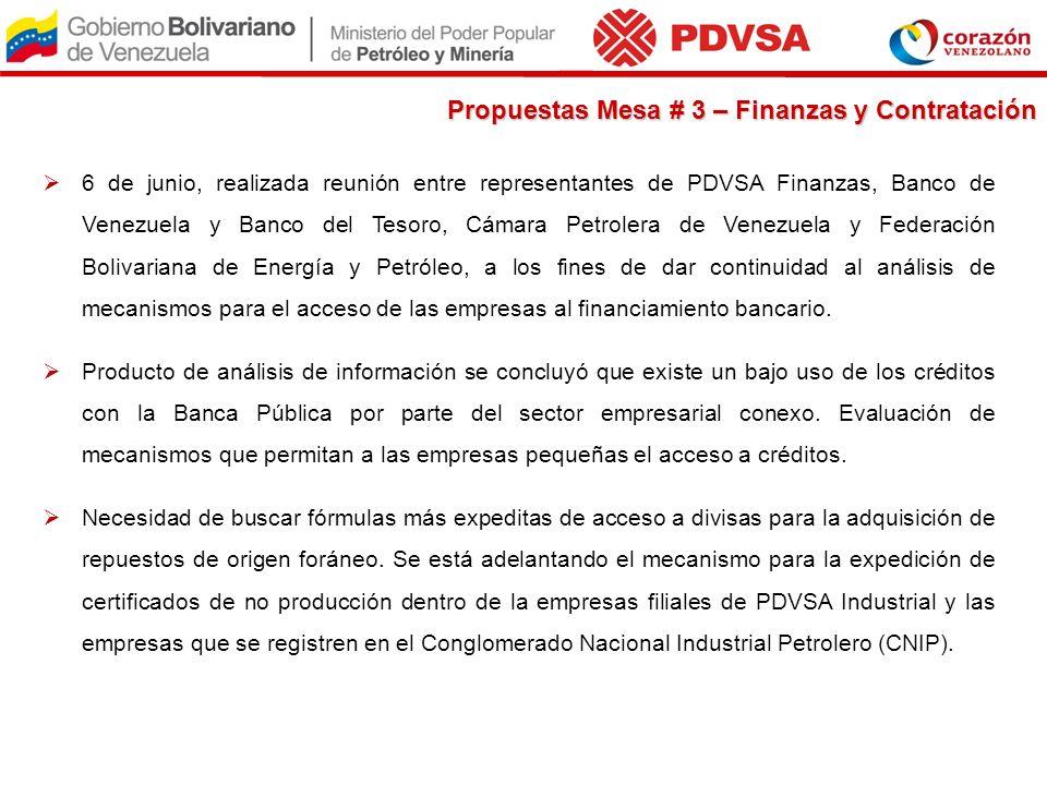 6 de junio, realizada reunión entre representantes de PDVSA Finanzas, Banco de Venezuela y Banco del Tesoro, Cámara Petrolera de Venezuela y Federació