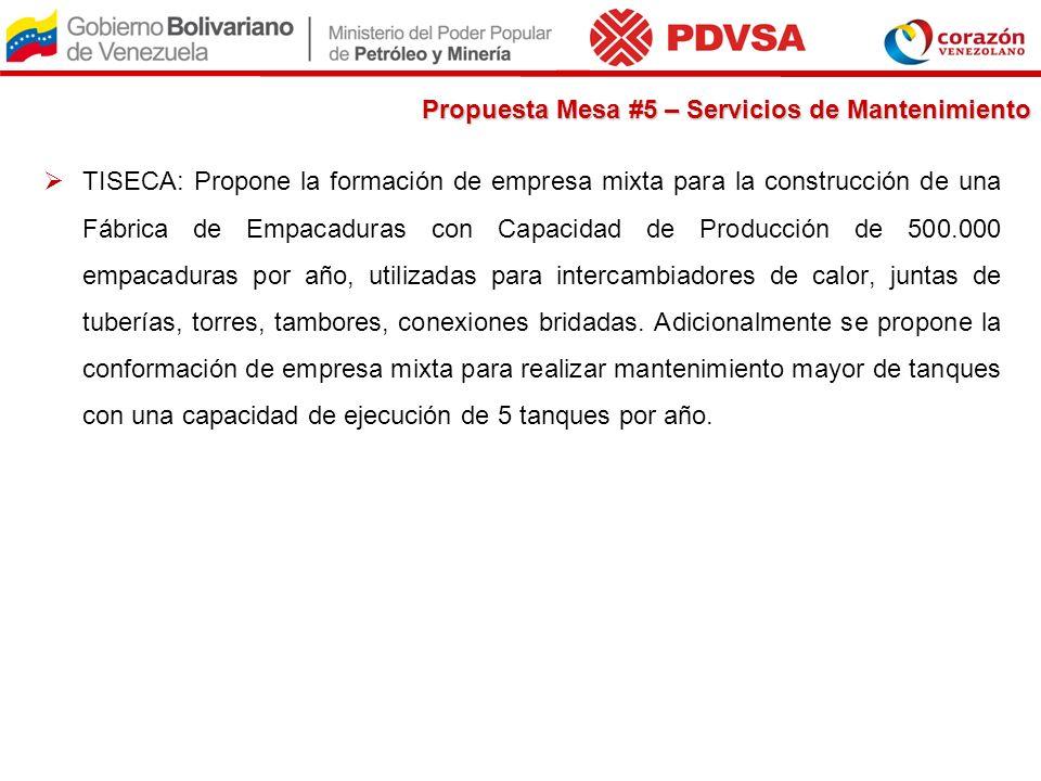 Propuesta Mesa #5 – Servicios de Mantenimiento TISECA: Propone la formación de empresa mixta para la construcción de una Fábrica de Empacaduras con Ca