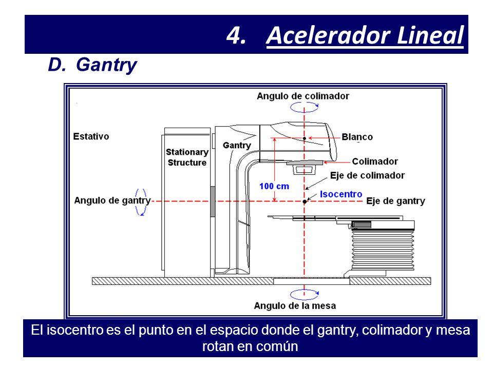 4.Acelerador Lineal D.Gantry El isocentro es el punto en el espacio donde el gantry, colimador y mesa rotan en común