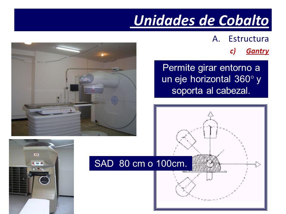 Unidades de Cobalto A.Estructura c)Gantry Permite girar entorno a un eje horizontal 360 ° y soporta al cabezal. SAD 80 cm o 100cm.