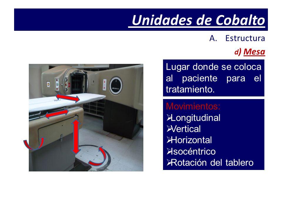 Unidades de Cobalto A.Estructura d ) Mesa Lugar donde se coloca al paciente para el tratamiento. Movimientos: Longitudinal Vertical Horizontal Isocént