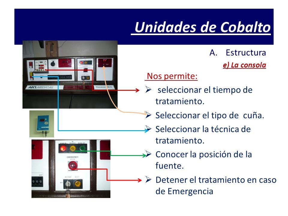 Unidades de Cobalto A.Estructura e) La consola Nos permite: seleccionar el tiempo de tratamiento. Seleccionar el tipo de cuña. Seleccionar la técnica