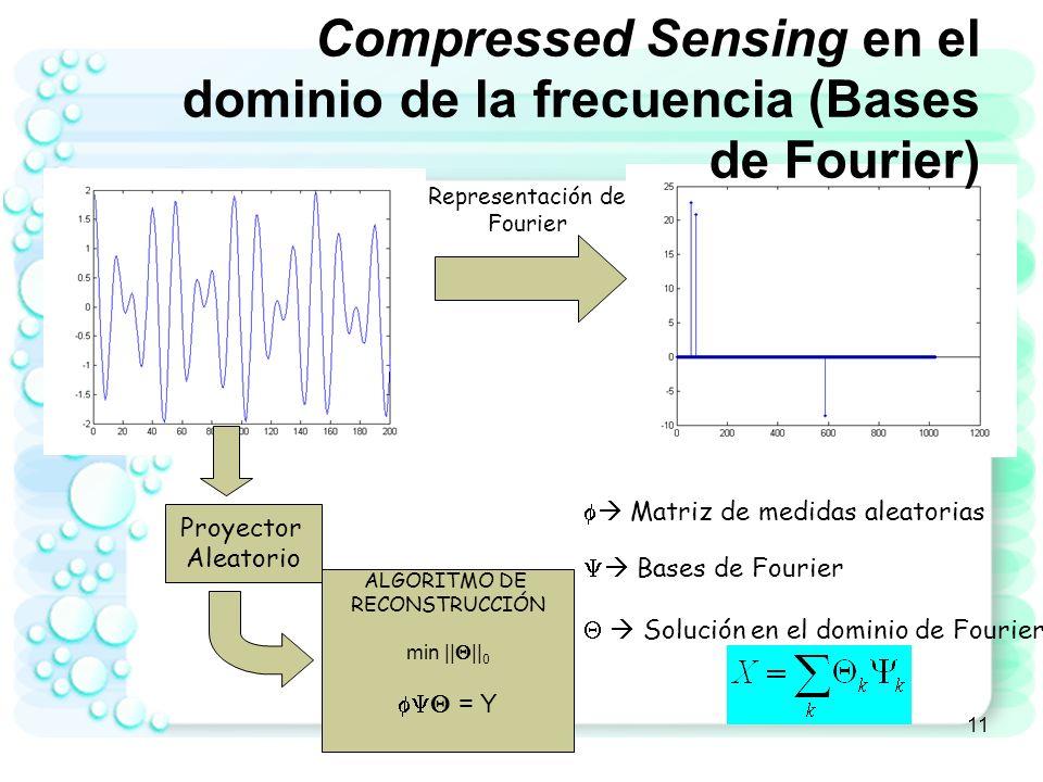 12 CS - Principio Señal X es sparse Medir la señal usando pocas proyecciones aleatorias: Y = X Reconstrucción: Dadas la medidas Y encontrar X
