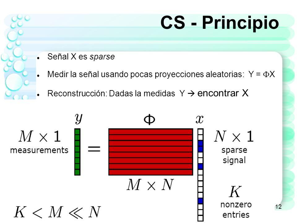 Algoritmos de Recuperación de Señal 13 Algoritmo de reconstrucción Dado el conjunto de M medidas Y = X + Encuentre la señal poco densa X Señal recuperada Proyecciones aleatorias Y M-dimensional vector M x N matriz de medidas X N-dimensional señal sparse vector de ruido Dado que M << N, reconstrucción de la señal es un problema de ecuaciones lineales con múltiples soluciones
