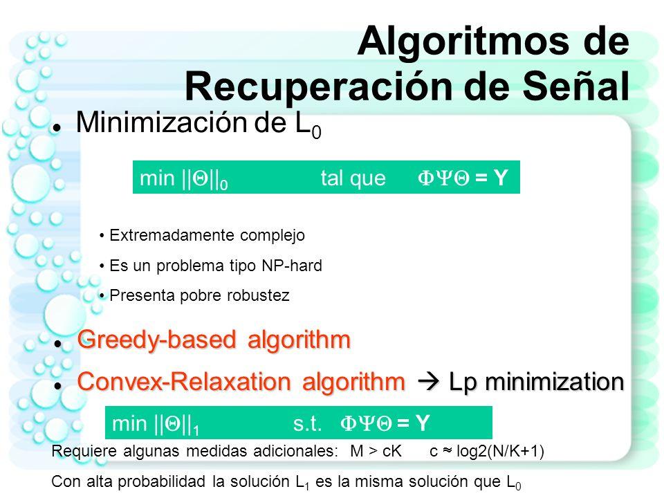 Algoritmos de Recuperación de Señal Algoritmos tipo Greedy Pursuit Algoritmos iterativos que recuperan la señal X a partir de las medidas Y Necesita un poco más de medidas o proyecciones aleatorias Ejemplo: Matching Pursuit Orthogonal Matching Pursuit (OMP) Regularized OMP Stagewise OMP.