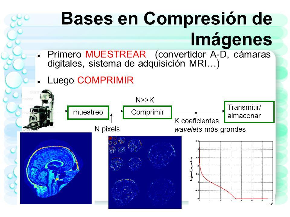 4 Compresibilidad en Señales e imágenes Información más importante cae sólo en unos pocos coeficientes La mayoria de la imágenes naturales e imágenes medicas son compresibles Poco coeficientes concentran la mayor cantidad de energía Mayoría de los coeficientes en el dominio de la transformada son despreciables en magnitud