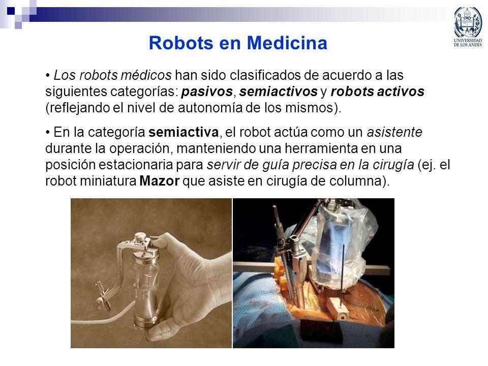 Robots en Medicina Los robots médicos han sido clasificados de acuerdo a las siguientes categorías: pasivos, semiactivos y robots activos (reflejando