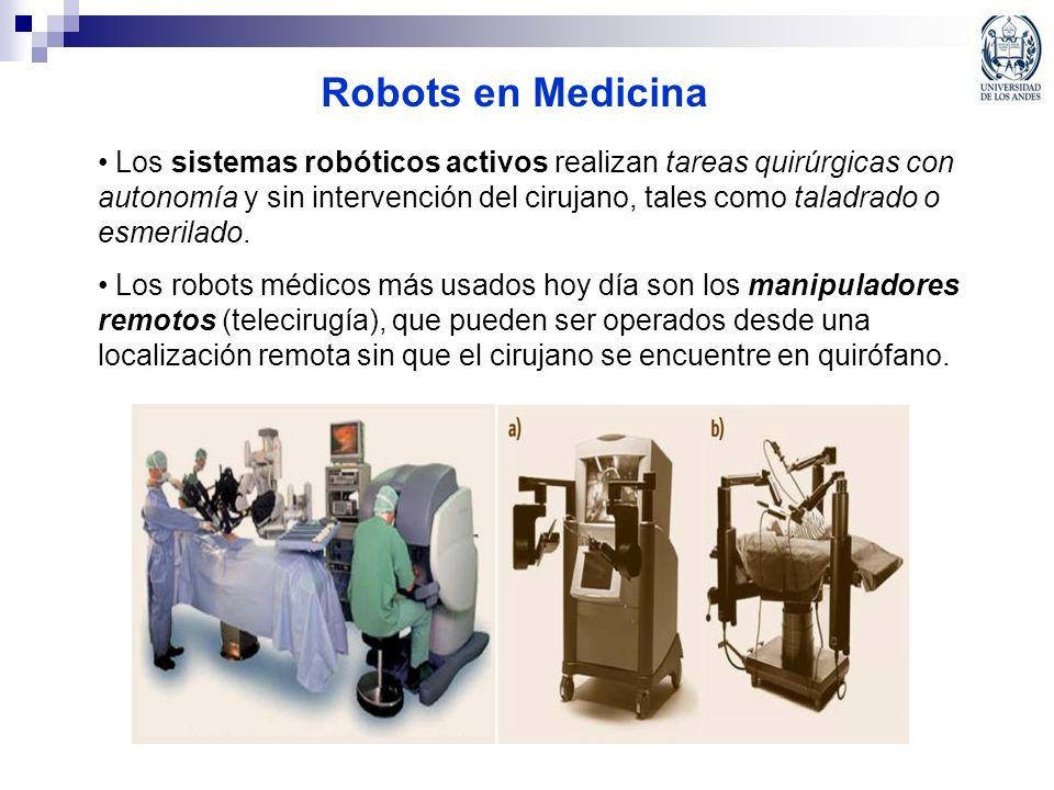 Robots en Medicina Los sistemas robóticos activos realizan tareas quirúrgicas con autonomía y sin intervención del cirujano, tales como taladrado o es