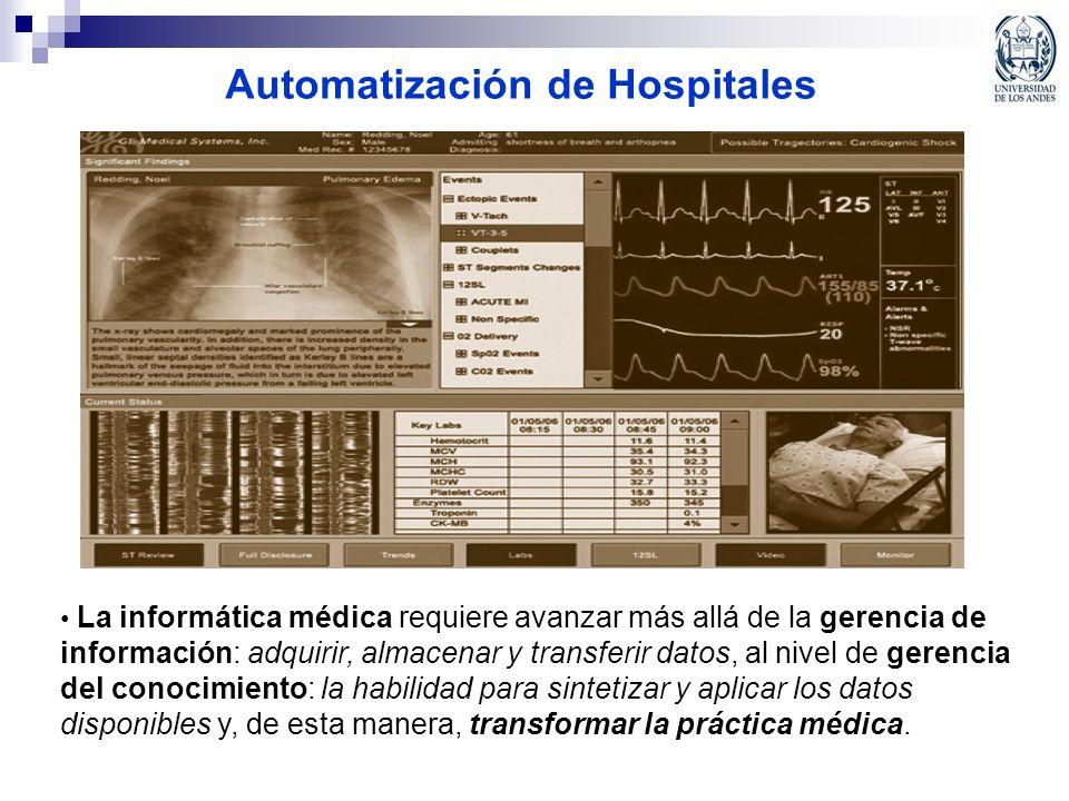 Automatización de Hospitales La informática médica requiere avanzar más allá de la gerencia de información: adquirir, almacenar y transferir datos, al