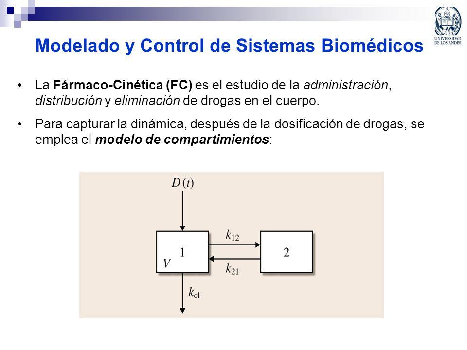 Modelado y Control de Sistemas Biomédicos La Fármaco-Cinética (FC) es el estudio de la administración, distribución y eliminación de drogas en el cuer