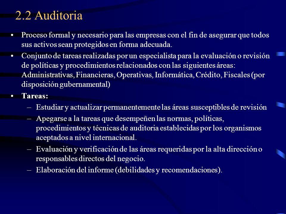 2.2 Auditoria Proceso formal y necesario para las empresas con el fin de asegurar que todos sus activos sean protegidos en forma adecuada. Conjunto de