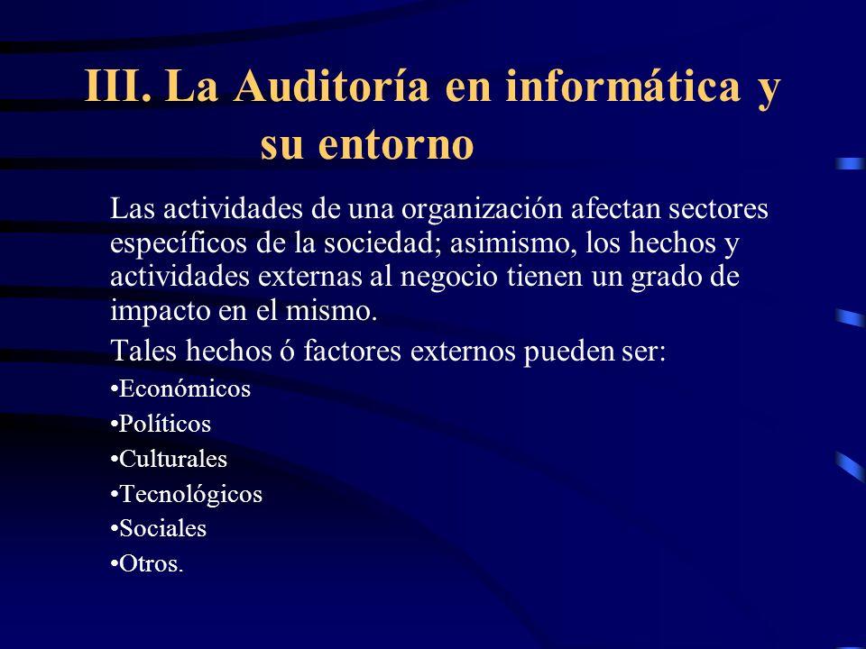 III. La Auditoría en informática y su entorno Las actividades de una organización afectan sectores específicos de la sociedad; asimismo, los hechos y