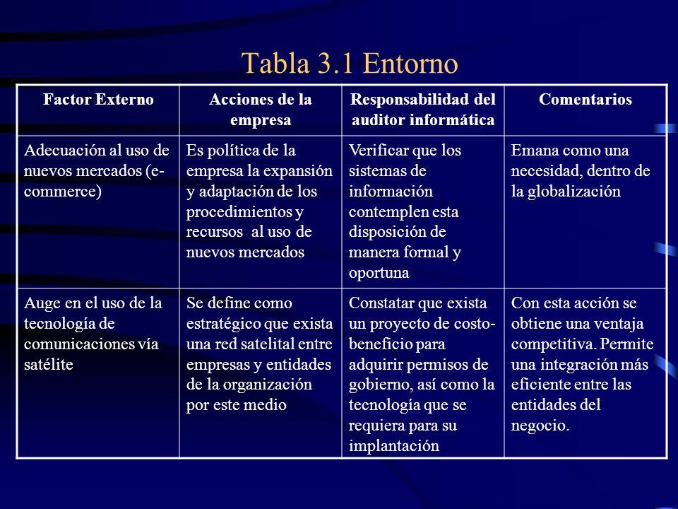 Tabla 3.1 Entorno Factor ExternoAcciones de la empresa Responsabilidad del auditor informática Comentarios Adecuación al uso de nuevos mercados (e- co