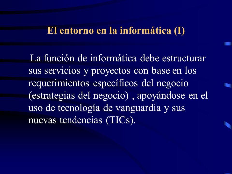 El entorno en la informática (I) La función de informática debe estructurar sus servicios y proyectos con base en los requerimientos específicos del n