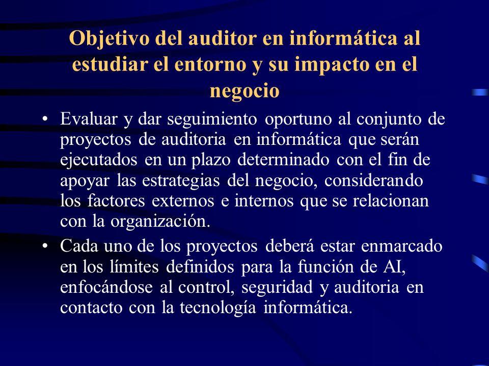 Objetivo del auditor en informática al estudiar el entorno y su impacto en el negocio Evaluar y dar seguimiento oportuno al conjunto de proyectos de a